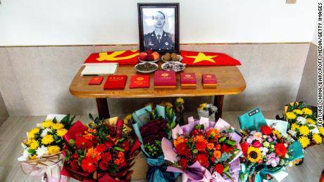 A view of the memorial service desk at the home of Xiao Siyuan, one of the four PLA soldiers killed in the last year's border clash with India, in Yanjin county in central China's Henan province Sunday, February 21, 2021.