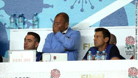 Jones looks on during England's World Cup final defeat by South Africa.