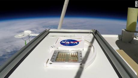 MARSBOx started flying in September 2019. Its door rotates open, exposing four different types of microbial samples to the extreme environmental conditions of the Earth's stratosphere.
