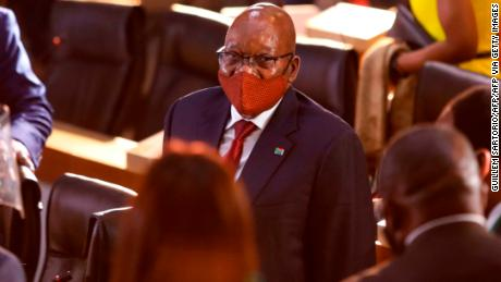 Former South African President Jacob Zuma arrives Commission of Inquiry into State Capture  in Johannesburg, on November 16, 2020.