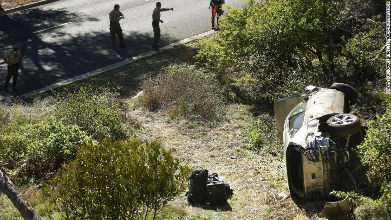 Investigators examine the scene of the accident on Hawthorne Boulevard in Rancho Palos Verdes, California.