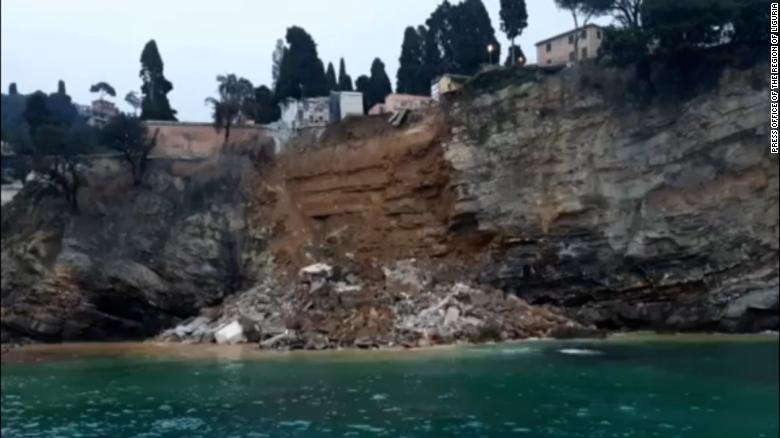 Hundreds of coffins fall into the sea following collapse of an Italian cemetery