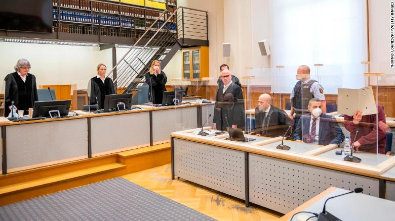 Presiding judge Anne Kerber stands before pronouncing her verdict in the court in Koblenz, Germany, on February 24.