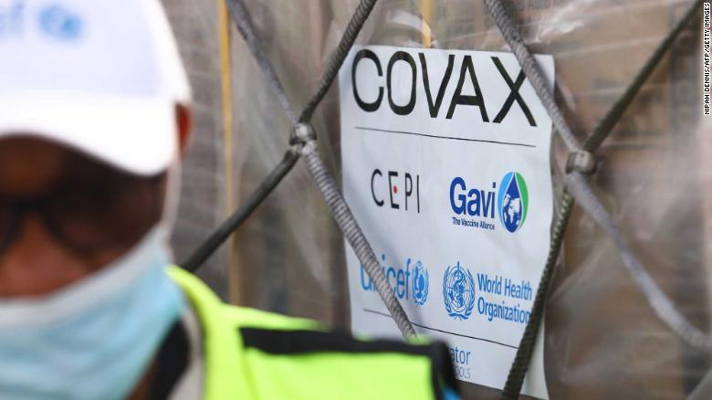 A shipment of Covid-19 vaccines from the COVAX initiative arrives at the Kotoka International Airport in Accra, Ghana, on February 24, 2021.