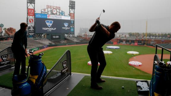 SAN FRANCISCO, CA - NOVEMBER 07:  Golfers join thousands in Topgolf's Guinness Book World Record attempt for most golf balls hit simultaneously at Oracle Park in San Francisco, California and all Topgolf venues around the world on November 7, 2019. (Photo by Kimberly White/Getty Images for Topgolf Entertainment Group)