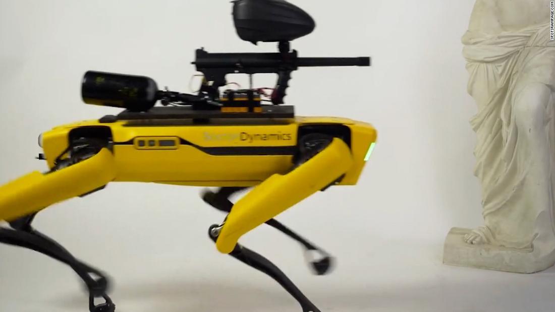 Internet group mounts paintball gun on robot dog