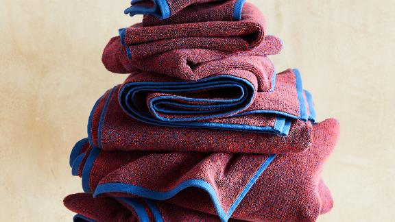 Marled Navy and Poppy Towels