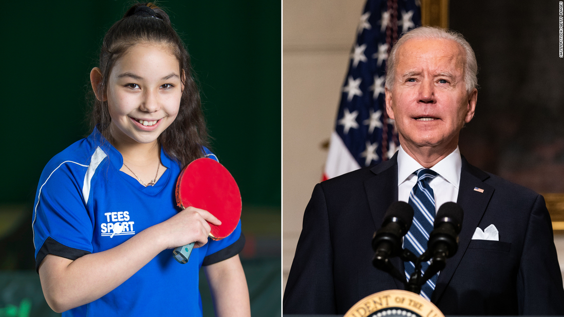 Table tennis prodigy Anna Hursey, 14, is ready to help US President Joe Biden tackle the climate crisis