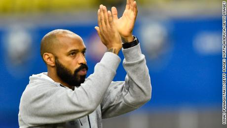 MONTREAL, QC - FEBRUARY 29:  Montreal Impact head coach, Thierry Henry, reacts after a victory against New England Revolution during the MLS game at Olympic Stadium on February 29, 2020 in Montreal, Quebec, Canada. The Montreal Impact defeated New England Revolution 2-1.  (Photo by Minas Panagiotakis/Getty Images)
