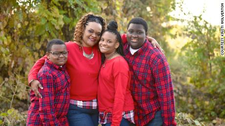 Jehvan Crompton, right, is pictured with his mom Kimberly and his siblings.