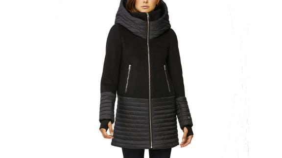 Avery Mixed Media Coat with Hood