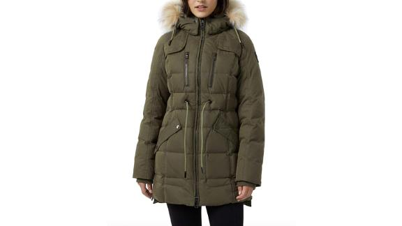 Pajar Women's Ava Down Quilted Trench Parka Jacket with Real Fur Hood