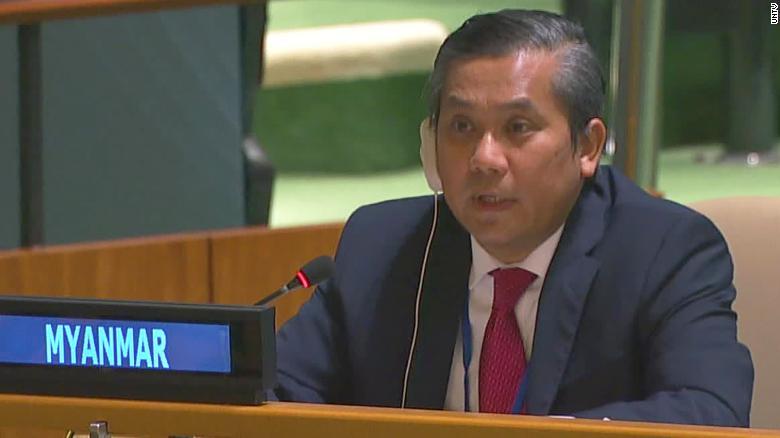 Myanmar's UN Ambassador Kyaw Moe Tun speaks inside the General Assembly on February 26.