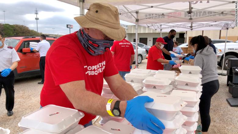 They're cooking BBQ by the ton and bringing comfort to thousands of storm weary Texans