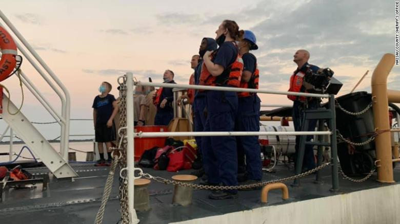 Four children and two adults were rescued from a sinking boat off the Georgia coast