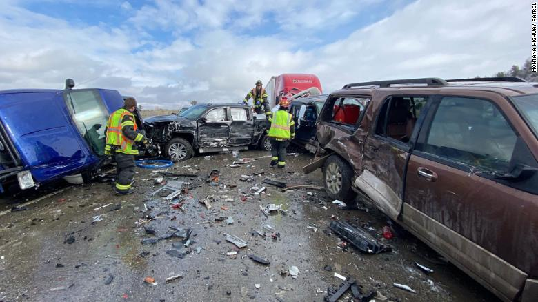 2 people injured in a 30-vehicle pileup in Montana