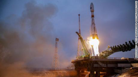 Russia's Arktika-M spacecraft for monitoring climate and environment in the Arctic region, during lift-off from the launchpad in Kazakhstan on February 28.