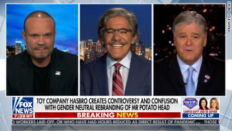 Dan Bongino, Geraldo Rivera and Sean Hannity discussing Mr. Potato Head on Fox News