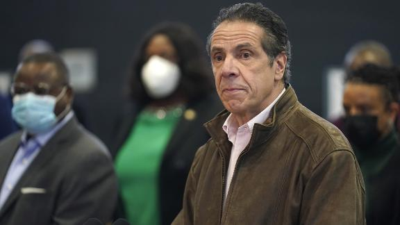 New York Gov. Andrew Cuomo speaks during a news conference at a COVID-19 vaccination site in the Brooklyn borough of New York, Monday, Feb. 22, 2021. (AP Photo/Seth Wenig, Pool)