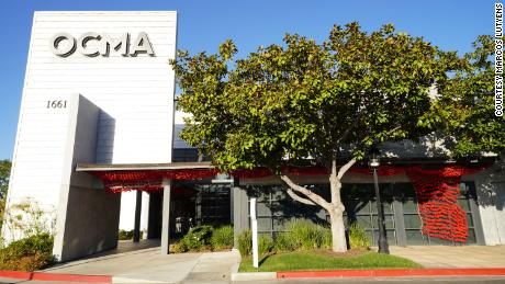 A Covid-19 memorial by Rose River Memorial at the Orange County Museum of Art in Santa Ana, California.