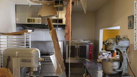 Water damage from burst pipes at a local bakery in Baytown, Texas, U.S., on Saturday, Feb. 20, 2021.