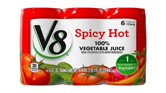 V8 Spicy Hot 100% Vegetable Juice, 48-Pack