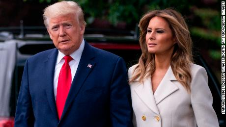 WASHINGTON, DC - MAY 25: U.S. President Donald Trump and first lady Melania Trump depart the White House for Baltimore, Maryland on May 25, 2020 in Washington, DC. The Trumps will attend a Memorial Day ceremony at the Fort McHenry National Monument and Historic Shrine despite objections by Baltimore Mayor Bernard C.