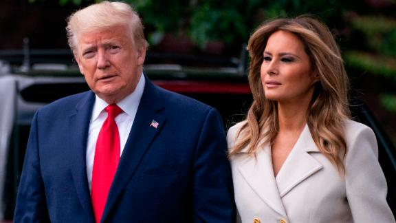 "WASHINGTON, DC - MAY 25: U.S. President Donald Trump and first lady Melania Trump depart the White House for Baltimore, Maryland on May 25, 2020 in Washington, DC. The Trumps will attend a Memorial Day ceremony at the Fort McHenry National Monument and Historic Shrine despite objections by Baltimore Mayor Bernard C. ""Jack"" Young, whose residents remain under a stay-at-home order due to the coronavirus. (Photo by Sarah Silbiger/Getty Images)"