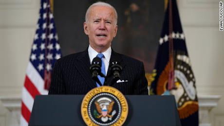 President Joe Biden speaks about efforts to combat COVID-19, in the State Dining Room of the White House, Tuesday, March 2, 2021, in Washington. (AP Photo/Evan Vucci)