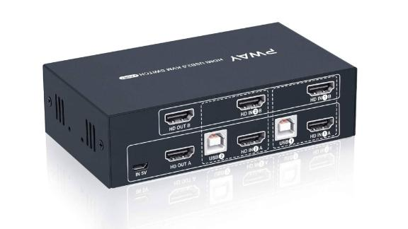 Steetek 2 Port Dual Monitor KVM Switch
