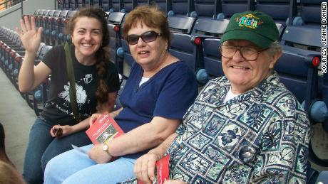 Jeanne with her parents, Patricia and Michael Bonner, at an Atlanta Braves Game at Turner Field in 2011.