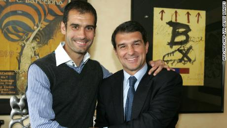 Joan Laporta (R) hired Pep Guardiola to be Barcelona new head coach in 2008.