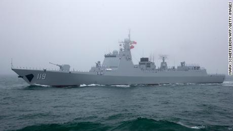 A Type 052D Chinese guided missile destroyer participates in a naval parade to commemorate the 70th anniversary of the founding of China's PLA Navy in 2019.