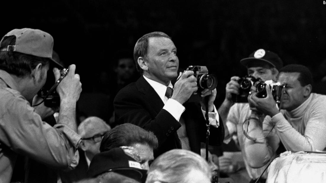 "March 8, 1971 -- Film star Frank Sinatra photographed ""The Fight of the Century"" between Ali and Frazier for Life Magazine."