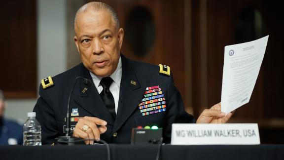 Commanding General District of Columbia National Guard Major General William J. Walker testifies before the Senate Homeland Security and Governmental Affairs/Rules and Administration hearing to examine the January 6, 2021 attack on the US Capitol on Capitol Hill on March 3, 2021 in Washington, DC. (Photo by Greg Nash / POOL / AFP) (Photo by GREG NASH/POOL/AFP via Getty Images)