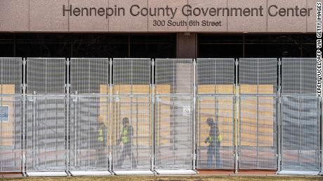 Workers installed security fences at the Hennepin County Government Center in Minneapolis last month.