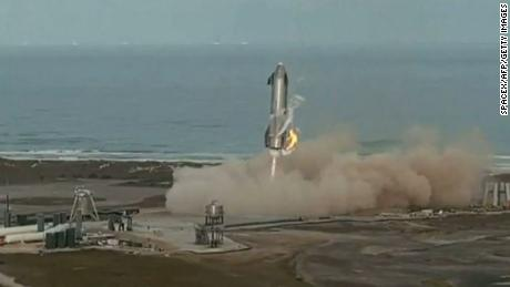 "This screengrab made from SpaceX's live webcast shows the Starship SN10 prototype as it lands during the second attempted test flight of the day at SpaceX's South Texas test facility near Boca Chica Village in Brownsville, Texas, March 3, 2021. - An unmanned SpaceX rocket exploded on the ground on March 3 after carrying out what had seemed to be a successful flight and landing. (Photo by Jose ROMERO / SPACEX / AFP) / RESTRICTED TO EDITORIAL USE - MANDATORY CREDIT ""AFP PHOTO /SPACEX "" - NO MARKETING - NO ADVERTISING CAMPAIGNS - DISTRIBUTED AS A SERVICE TO CLIENTS (Photo by JOSE ROMERO/SPACEX/AFP via Getty Images)"