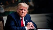 President Donald Trump speaks in the Diplomatic Room of the White House on Thanksgiving on November 26, 2020 in Washington, DC. Trump had earlier made the traditional call to members of the military stationed abroad through video teleconference.