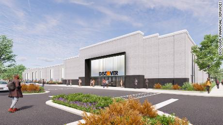 A rendering of Discover Financial Services' new customer care center, located at 560 South Cottage Grove Ave. in the predominantly Black Chicago community of Chatham, which is set to open some time later in 2021.