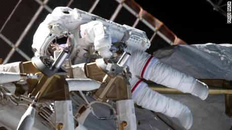 (Feb. 28, 2021) --- NASA astronaut Kate Rubins is pictured during a spacewalk to install solar array modification kits on the International Space Station. The maintenance work will support new, more powerful solar arrays that will be delivered on upcoming SpaceX Dragon cargo missions.