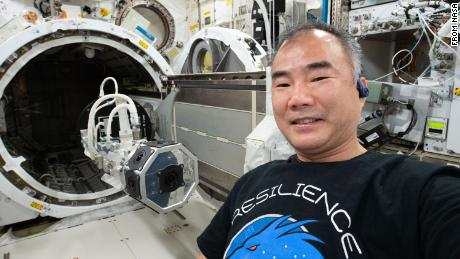 Soichi Noguchi is shown after installing a three-dimensional virtual reality camera on the space station.