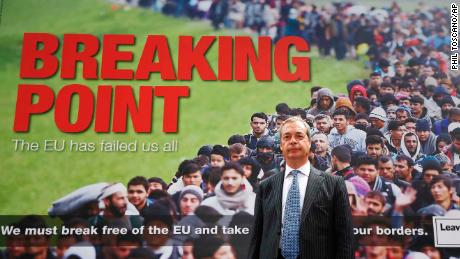 Nigel Farage stands in front of the infamous Brexit referendum poster in 2016, purporting to show migrants queuing to get into the EU.