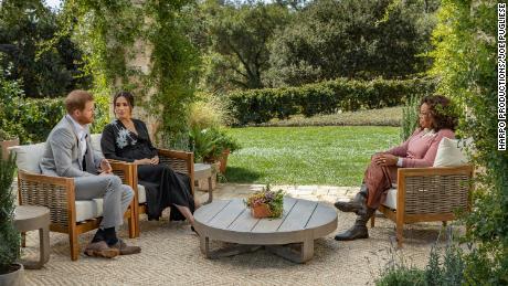 Prinz Harry und Meghan sind während ihres Interviews mit Oprah Winfrey abgebildet.