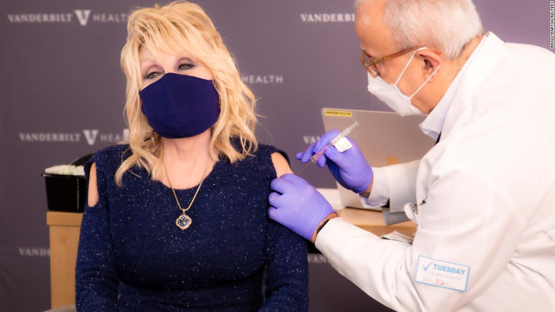 "Country music legend Dolly Parton <a href=""https://www.cnn.com/2021/03/02/us/dolly-parton-gets-her-covid-19-vaccine-trnd/index.html"" target=""_blank"">receives a Covid-19 vaccine</a> in Nashville, Tennessee, on March 2. She posted the video to her Twitter account, urging her followers to get their shot when they can."