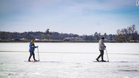 Residents head out for some ice-fishing and conviviality.