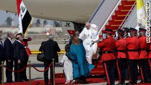 Pope Francis arrives at Baghdad's international airport, Iraq, Friday, March 5, 2021.