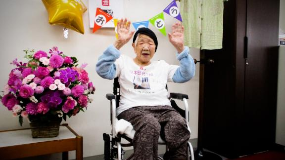 screengrab Japan oldest woman Olympics torchbearer Kane Tanaka
