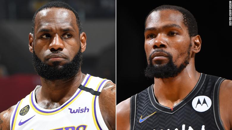Perpecahan LeBron James (kiri) dan Kevin Durant (kanan).