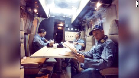 The astronauts spent two days in the Mobile Quarantine Facility, a modified Airstream trailer.