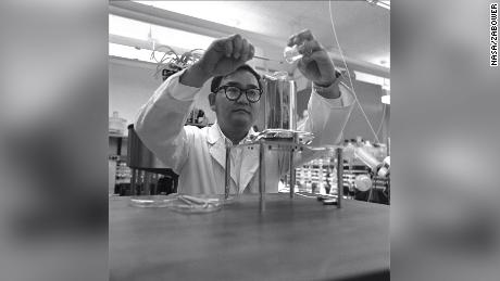 Life Detection Systems branch chief Vance Oyama dispersed lunar soil in equal amounts to thousands of petri dishes for multiple experiments and studies.